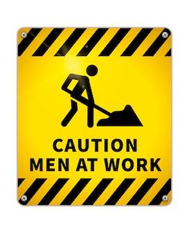 Piastra metallica lucida di avvertenza luminosa, segnale di avvertimento uomini nell'area di lavoro con icona del lavoratore stradale isolata su bianco