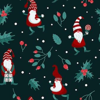 Brillante motivo natalizio gnomi berretti lecca-lecca regali inverno agrifoglio stile piatto rosso verde