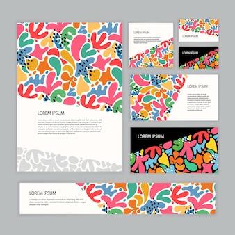 Design carino modello di identità aziendale di colore brillante. illustrazione vettoriale