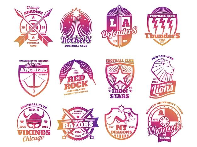 Emblemi di scuola di colore brillante, etichette sportive di squadre atletiche universitarie isolate su priorità bassa bianca