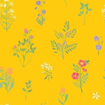 Modello senza cuciture colorato luminoso con splendidi fiori che sbocciano selvatici