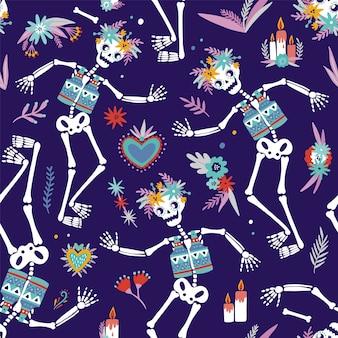 Modello senza cuciture colorato luminoso con scheletri che ballano