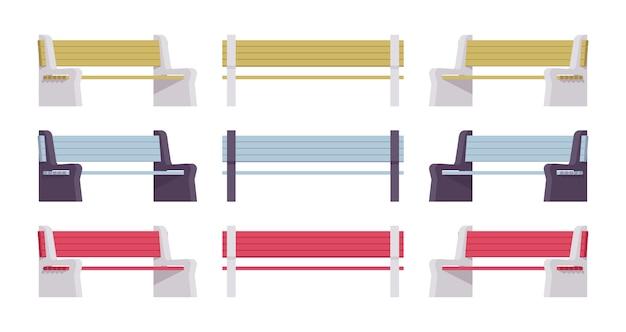 Panca da strada colorata e luminosa. sedile lungo rivestito per diverse persone, parco pubblico statale, elemento da giardino. architettura del paesaggio e concetto urbano. illustrazione del fumetto di stile