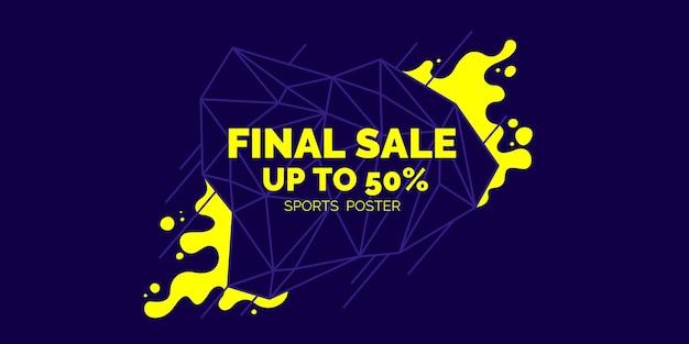 Poster colorato luminoso vendita 50 percento con spruzzi. illustrazione vettoriale in stile piatto