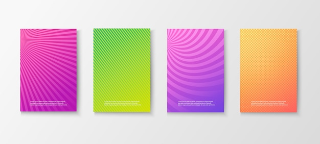 Set di manifesti colorati luminosi
