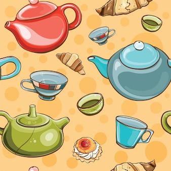 Modello senza cuciture colorato luminoso con set da tè. l'ora del tè.