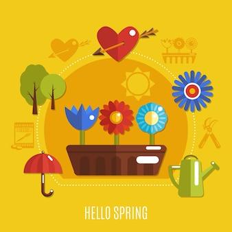 Concetto luminoso colorato primavera con cuore di fiori che sbocciano con freccia e attrezzi da giardinaggio su sfondo giallo piatto