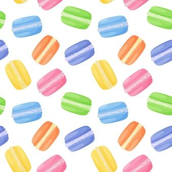 Modello senza cuciture di torte di amaretti dolci colorati luminosi su sfondo bianco