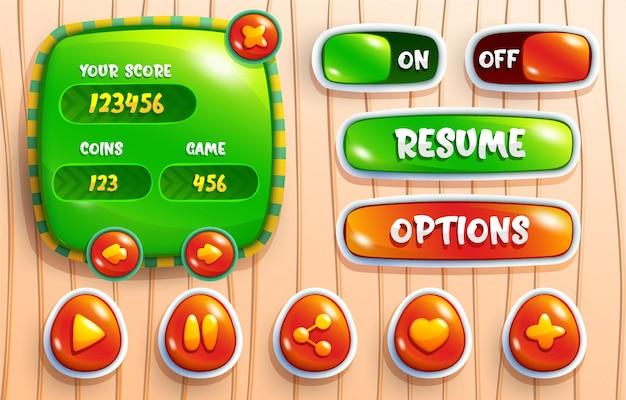 Colori vivaci design per set completo di pop-up di gioco con pulsanti di punteggio