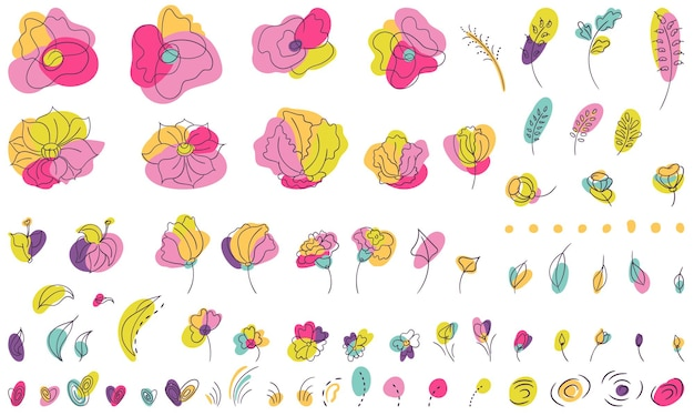Elementi floreali estivi dai colori vivaci con tendenza line-art. fiori e lame e foglie e macchie di colore neon stilizzati