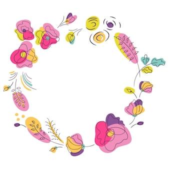 Cornice rotonda floreale estiva dai colori vivaci. corona con fiori di colore neon. sfondo bianco