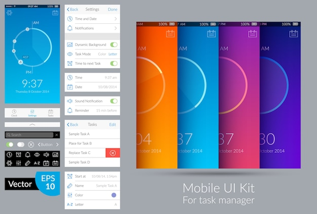 Kit ui mobile dal design luminoso per l'illustrazione piatta del task manager