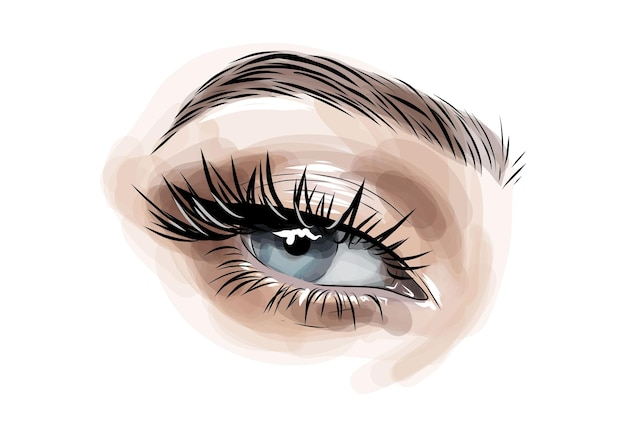 Trucco occhi brillante e modellatura sopracciglia