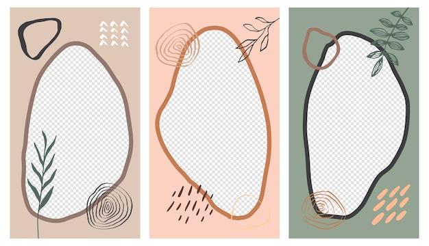 Luminoso set alla moda di storie di social media e modelli di design di post. design alla moda con foglie esotiche. sfondi di disegno vettoriale per banner di social media.