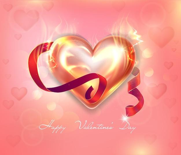 Cuore fiammeggiante luminoso su uno sfondo rosa delicato per il giorno di san valentino