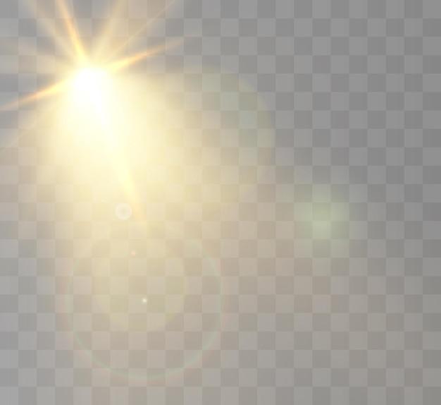 Flash luminoso con riflessi e raggi di lenti