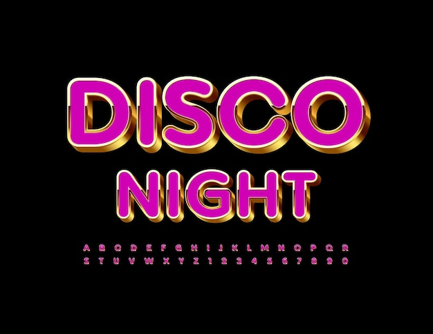 Volantino luminoso disco night gold e pink 3d font chic alphabet letters and numbers