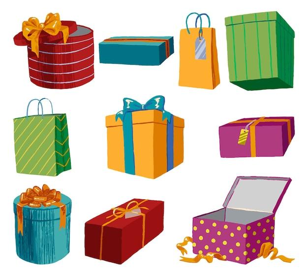 Scatole regalo luminose e pacchetti vacanza. raccolta di illustrazioni vettoriali disegnate a mano. insieme di elementi colorati isolato su bianco.