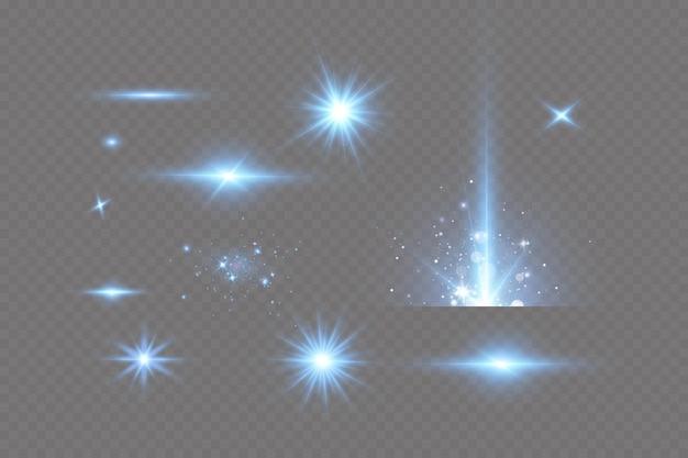 Effetto bagliore luminoso di stelle blu