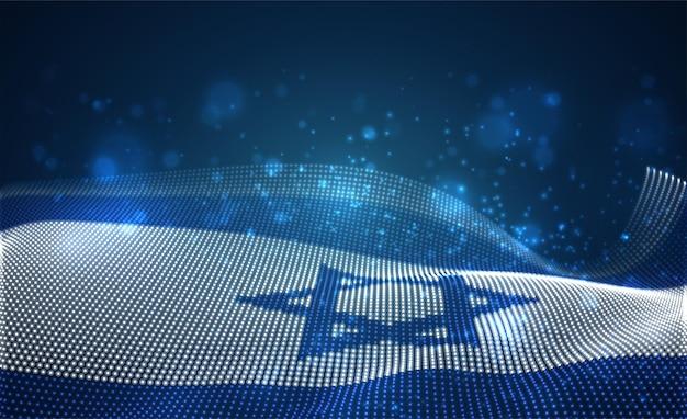 Bandiera del paese incandescente brillante di punti astratti. israele