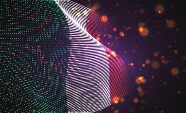 Bandiera del paese luminoso luminoso di punti astratti. italia
