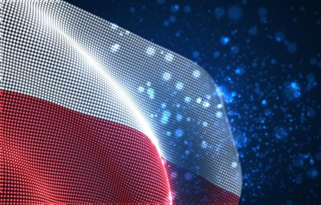 Bandiera del paese incandescente brillante di punti astratti. polonia