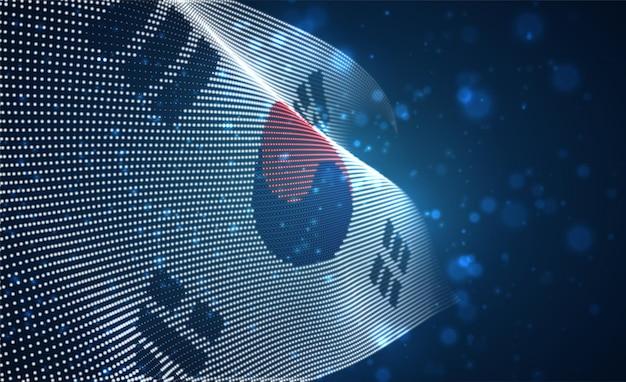 Bandiera del paese luminoso luminoso di punti astratti. corea del sud