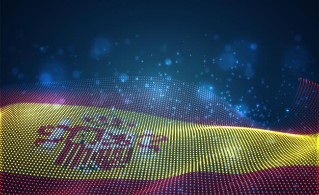 Bandiera del paese incandescente luminoso di punti astratti. spagna