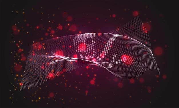 Bandiera luminosa incandescente del teschio e delle ossa dei pirati