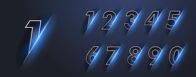 Numeri luminosi luminosi da zero a nove con un bagliore blu. numeri 1,2,3,4,5,6,7,8,9,0 con luce intensa. 2022 felice anno nuovo.