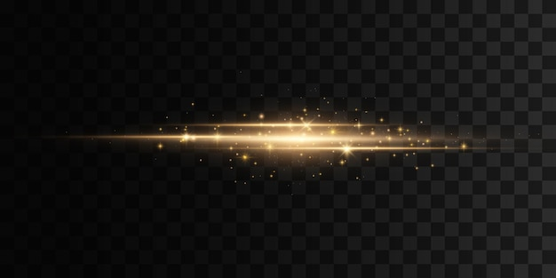 Riflessi dorati luminosi. razzi di lenti orizzontali gialli. raggi laser, raggi luminosi orizzontali
