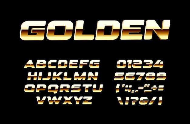 Set di lettere e numeri dorati luminosi. oro audace e alfabeto latino vettoriale in stile bronse lucido. font per eventi, promozioni, loghi, banner, monogrammi e poster. progettazione di tipografia.