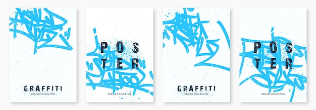 Etichette di graffiti luminosi con illustrazione vettoriale di marcatore modello di poster di arte di strada