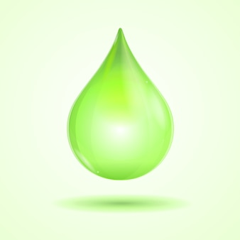 Goccia verde brillante isolato su sfondo bianco
