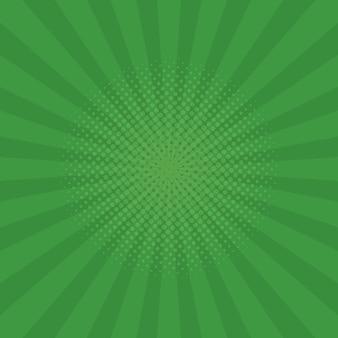 Sfondo di raggi verde brillante. fumetti, stile pop art. illustrazione vettoriale.