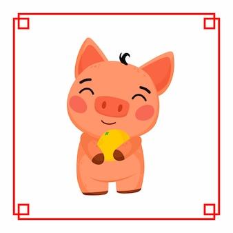 Biglietti d'auguri luminosi per il capodanno cinese. maialino carino con mandarino.