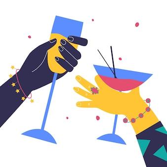 Mani luminose tengono in mano bicchieri di bevande bicchiere di cocktail di birra