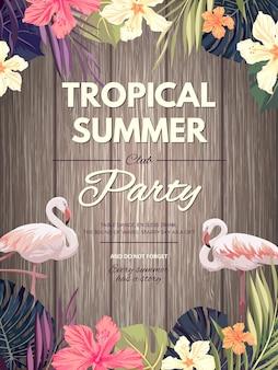 Design hawaiano luminoso con piante tropicali e fiori di ibisco