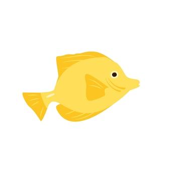 Icone luminose di pesce giallo... la natura dei mari e degli oceani. illustrazione vettoriale in stile piatto