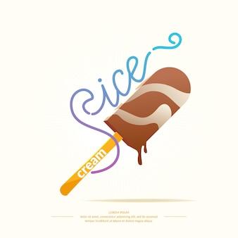 Illustrazione luminosa di prodotti lattiero-caseari gelato