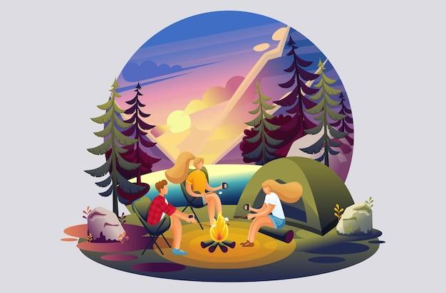 Illustrazione luminosa di attività ricreative all'aperto, campeggio, amici vicino al fuoco. personaggio 2d piatto