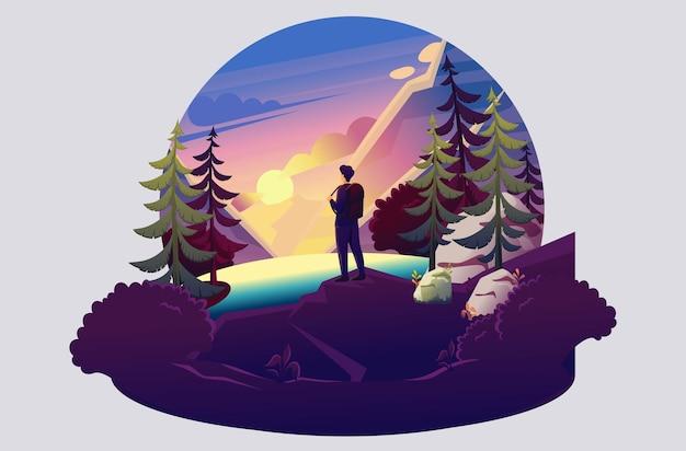 Illustrazione luminosa di un giovane sullo sfondo del tramonto, campeggio, visite turistiche