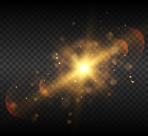 Luce brillante effetto raggi caldi scintilla stella sole vector