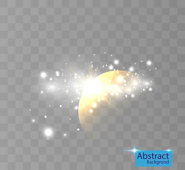 Effetto di luce brillante con luci per sfondi e illustrazioni.