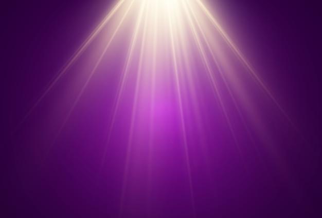 Una luce brillante che risplende su uno sfondo trasparente. raggi di luce emanati da una sorgente luminosa.