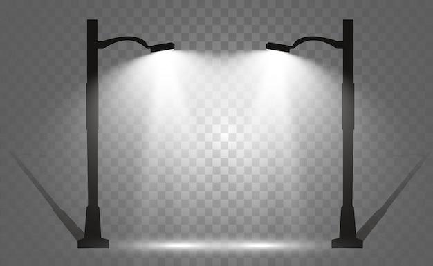 Lampione moderno luminoso. bella luce da un lampione.