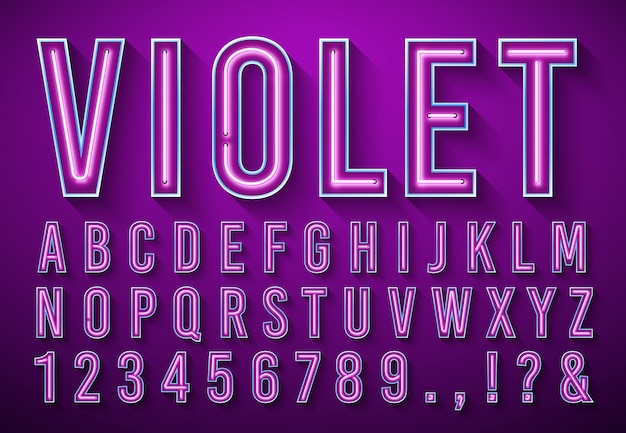Lettere luminose al neon. fonte d'ardore viola, alfabeto della scatola leggera e luci dei neon che segnano con l'insieme dell'illustrazione di vettore dell'ombra 3d