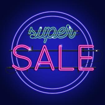 Luminoso neon super segno di vendita. sfondo per la tua pubblicità, sconti e affari.