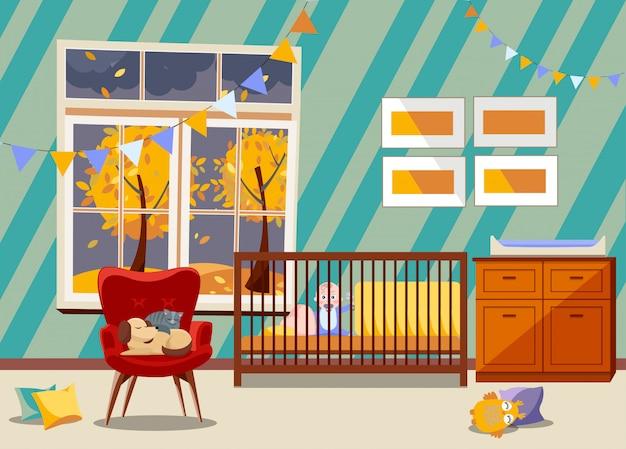 Interno luminoso della stanza della scuola materna del neonato, mobilia della camera da letto. cameretta con giocattoli, poltrona con cane e gatto che dorme.
