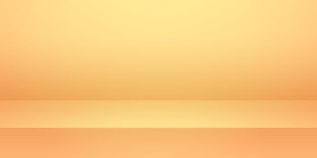 Lo sfondo del prodotto della stanza dello studio vuoto arancione e giallo brillante è simulato per l'esposizione e l'evento estivo